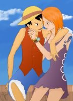 .: Nami and Luffy :. by tanya1