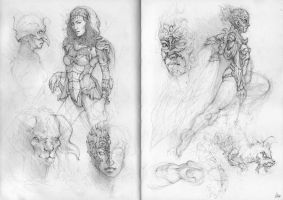 Sketchbook Pages 2 + 3 by AaronGriffinArt
