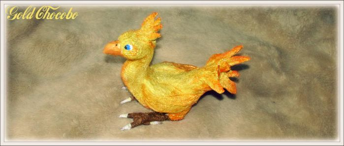 OOAK Gold Chocobo Sculpture -SOLD by MissNioniel