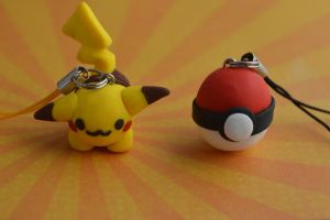 clay pikachu and pokeball by hellocuteness