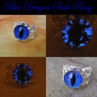 Blue Dragon Scale Eye Ring - BRIGHT GLOW -1 by LadyPirotessa