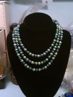 Pearl Peridot and Crystal Necklace by lisagems