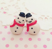 Snowman Christmas Earrings Set Hypoallergenic by anniscrafts