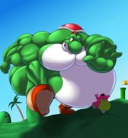 Giant sumo Yoshi chasing Yoob by RickyDemont
