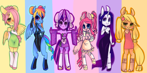 My little pony gals! Mane six wallpaper by Spookie-Sweets