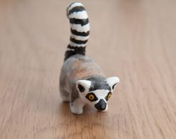Ring-tailed lemur, polymer clay by lifedancecreations