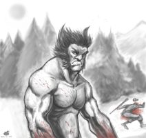 Wolverine's hunting time by Guiguyoumou