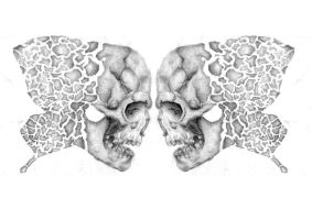 Skull Butterfly Tattoo Design by AmySargeantDesigns