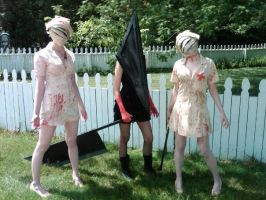 Me as a Female Pyramid Head and my two Nurses by MissPyramidHead4