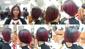 I got a new haircut with dyed red streaks by Magic-Kristina-KW