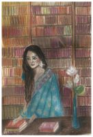 Indian girl in the Library of Alexandria by ghostexist
