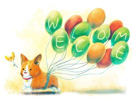 Welsh Corgi Welcome by IngridTan