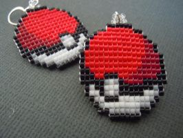 Pokeball Pixel Earrings by Pixelosis