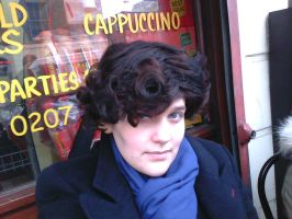 Me as Sherlock outside the one and only speedys by HeatherFrankenstien