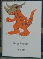 Digimon Greymon Birthday Card by Ember-lacewing