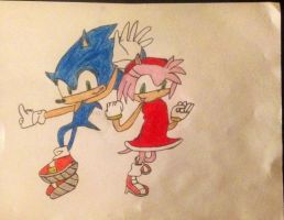 Sonic and Amy by FireFeyRose412
