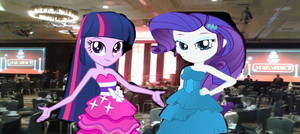 Twilight and Rarity at the ARC Gala by mylesterlucky7