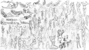 Figure Sketches by aStripedUnicorn