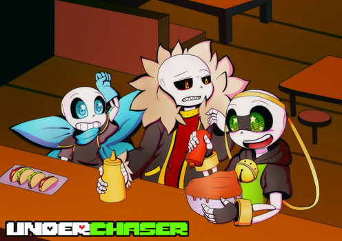 .:UNDERCHASER:. At Grillby's by Cyane-ei