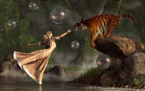 Surreal Tiger Bubble Waterdancer Dream by deskridge