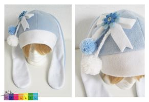 Hidden Rainbow - Bunny Hat Blue/White by LittleHiddenRainbow