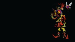 Skull Kid and Tael Black Background by Oldhat104