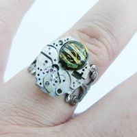 Steampunk Fused Glass Ring 2 by Create-A-Pendant