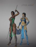 Jade and Kitana (primary unmasked) by deexie