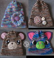Loom Knitted Hatses by Myrret