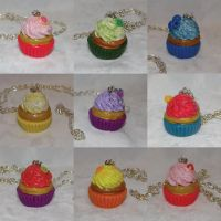 Cupcake Necklaces by WhimzicalWhizkerz