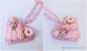 ~ Light pink Decoden necklace ~ by decoland