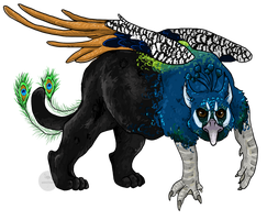 Peacock Black Jaguar Griffin by painted-flamingo