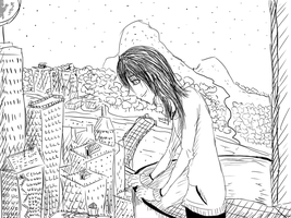 Gazing down at the city-Sketch. by MikaelBratLoni
