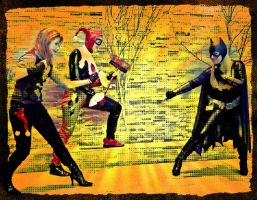Joker and Harley Quinn VS Batgirl - Comic Style by Evea