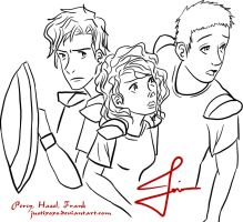 Percy, Hazel and Frank Outline by justixoxo