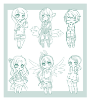Chibi Sketch Commissions: (3) by mint-muffin
