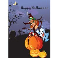 Free vector Happy halloween witch sitting on pumpk by cgvector