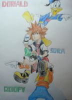 Sora Donald and Goofy by twinkelsparky1