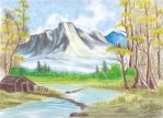 The house and the mountain (Water Color) by GhostHead-Nebula