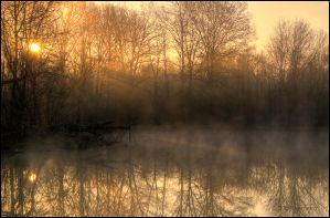 Sunrise At The Pond by bamako