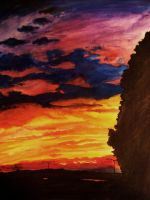 Watercolor Practice: Sunset by cocokat