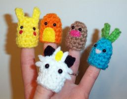 Pokemon Finger Puppets by happysquidmuffin