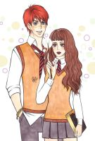 HP Ron and Hermione color by Juli-Yashka