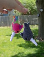 Tiny Narwhal Keychains :) by BeeZee-Art