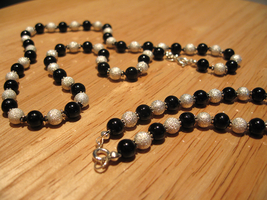 Silver and Black Necklace by pixidance