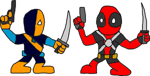 Deadpool vs Deathstroke by Blackrhinoranger