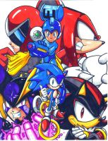 Archie Megaman Sonic crossover 2013 CL by trunks24