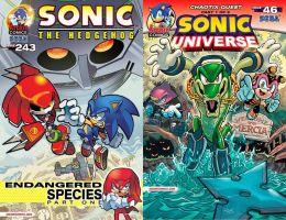 Sonic the Hedgehog #243 and Sonic Universe #46 by RocketSonic
