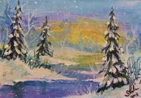 ACEO Winter Willows by annieoakley64
