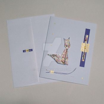 Origami Cat greeting card and matching envloppe by orijuju